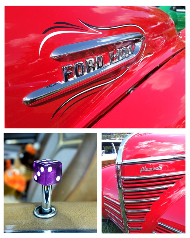 A collection of shots including purple dice on a door lock, vintage chrom grill work and a vintage Ford Logo emblazoned across a shiny red hood.