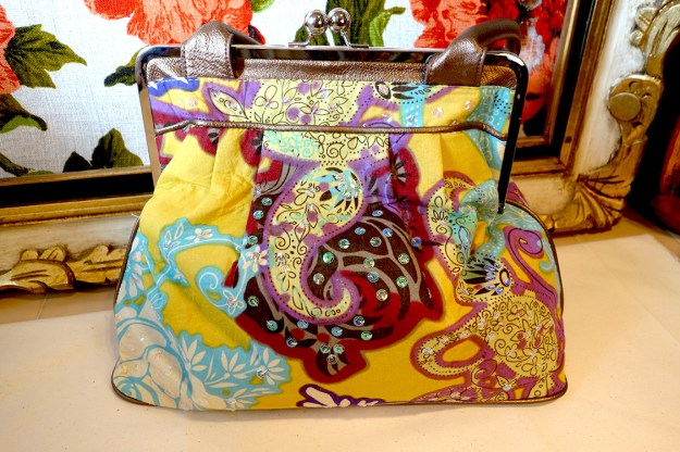 A very lovely, sparkly large purse. Very colorful and lovely.