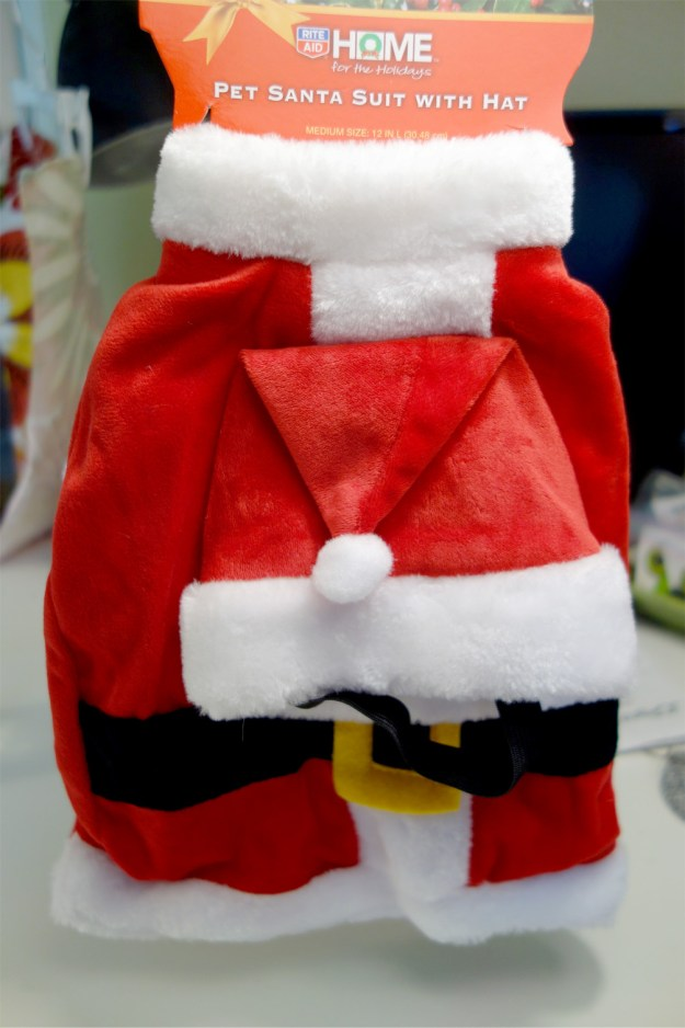A photo of a Santa Clause suit made for pets.