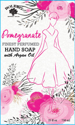 Pretty hand soap label featuring flowers and a line drawing of an elegant woman.