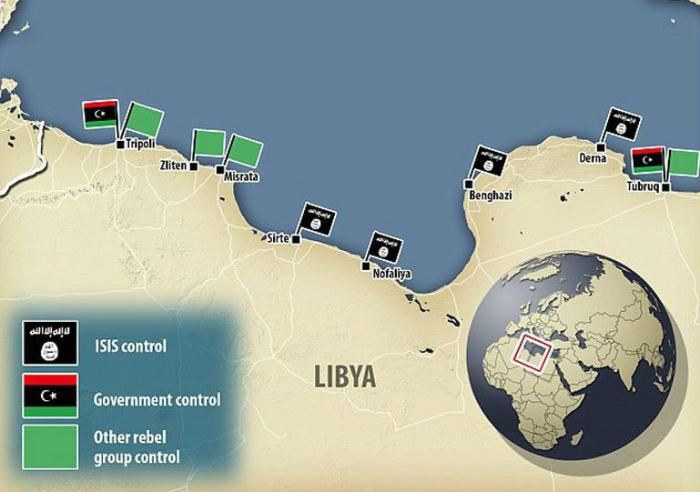 Map of ISIS control in Libya