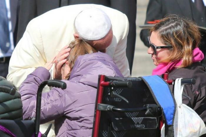 Pope Francis greets pilgrims during his jubilee general audience.