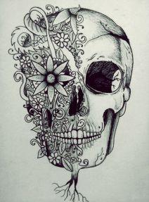 50 dise os de catrinas y bocetos para tatuajes de for Cara pintada diablo