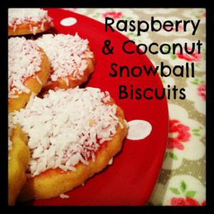 raspberry and coconut snowball biscuits