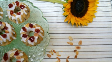 Mini Cherry and Almond Bundt Cakes with Lemon Icing