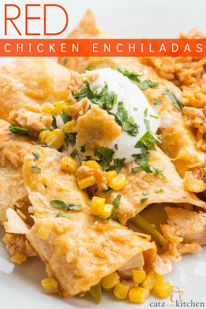 Red Chicken Enchiladas | Catz in the Kitchen | catzinthekitchen.com | #enchiladas