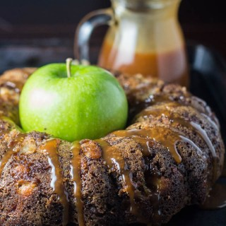 Salted Caramel Apple Cake | Catz in the Kitchen | catzinthekitchen.com | #caramel #fall #cake