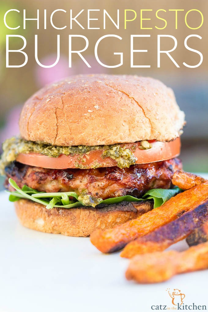 Chicken Pesto Burgers change it up! Smoky chicken instead of beef, fresh tomatoes, spicy arugula, and zesty pesto instead of bacon and cheese!