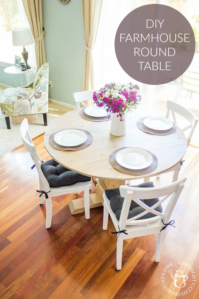 diy farmhouse round table catz in the kitchen. Black Bedroom Furniture Sets. Home Design Ideas