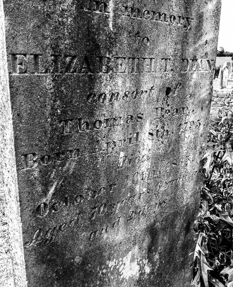 Elizabeth T. Dean, consort of, Thomas Dean, Born April 8th 1795, Died, October 10th, 1865, Aged 70 years, six months, and 2 days