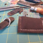 hand stitched needle pouch made from scrap leather