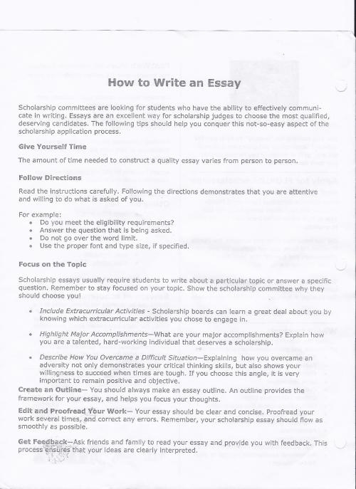 personal essays written by students