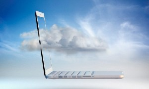 Clouds moving through laptop