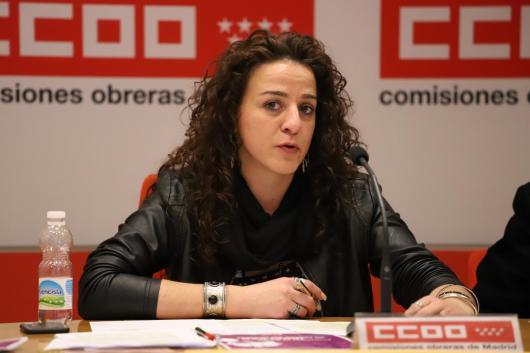 La secretaria de Mujeres e Igualdad, Elena Blasco, en la rueda de prensa celebrada hoy