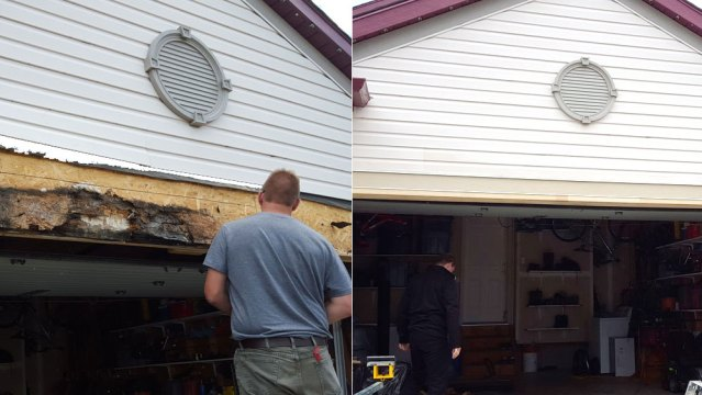 Garage Beam Restoration Before and After picture