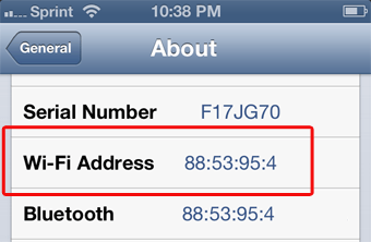 iOS MAC Address