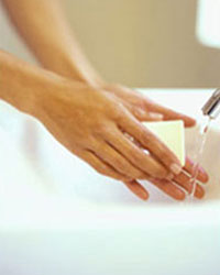 Photo: Wasing hands with soap and water.