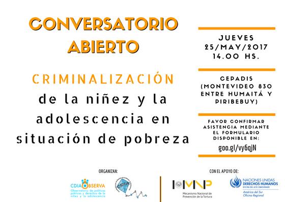 Conversatorio Abierto: Criminalización de la niñez y la adolescencia en situación de pobreza