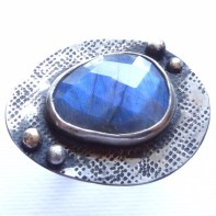 Labradorite set in Sterling Silver with 18ct gold accents US Size 8
