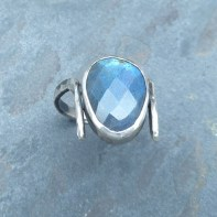 Hammered sterling silver ring with rose-cut Labradorite stone