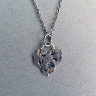 Hammered and forged Sterling Silver free form heart, 35mm long
