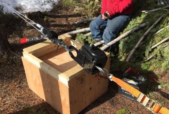 Winch on wood box