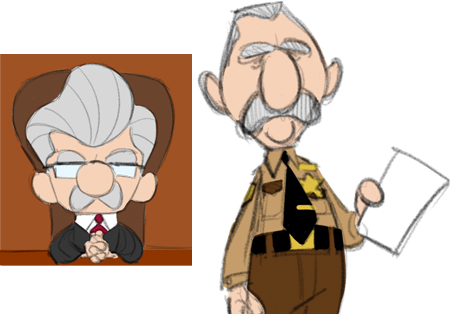 Character designs of judge, bailiff
