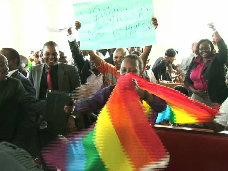 A section of activists celebrating victory at the constitutional court.