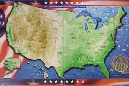 u.s. 50 state commemorative quarter maps & boards