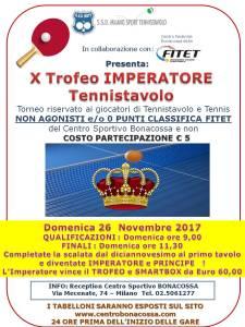 X torneo IMPERATORE 26 NOVEMBRE 2017.
