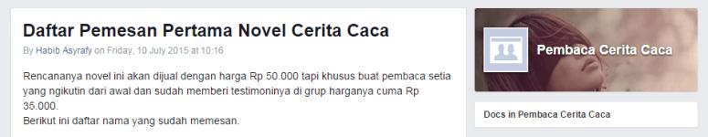 Group Facebook Pembaca Cerita Caca