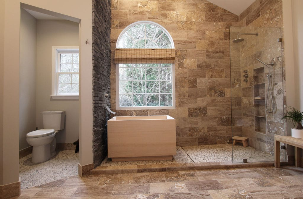 water closet tub area open shower hinoki tub