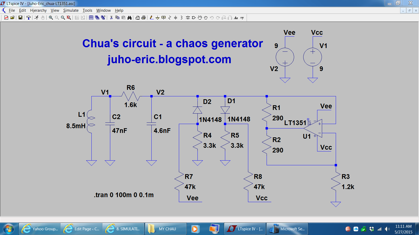 8 Simulating Chuas Circuit With Ltspice Chaotic Circuits Capture And Simulation Of Electrical The Actual Nonetheless What Eric Used Is Still Truly You Will Enjoy It His Shown Below