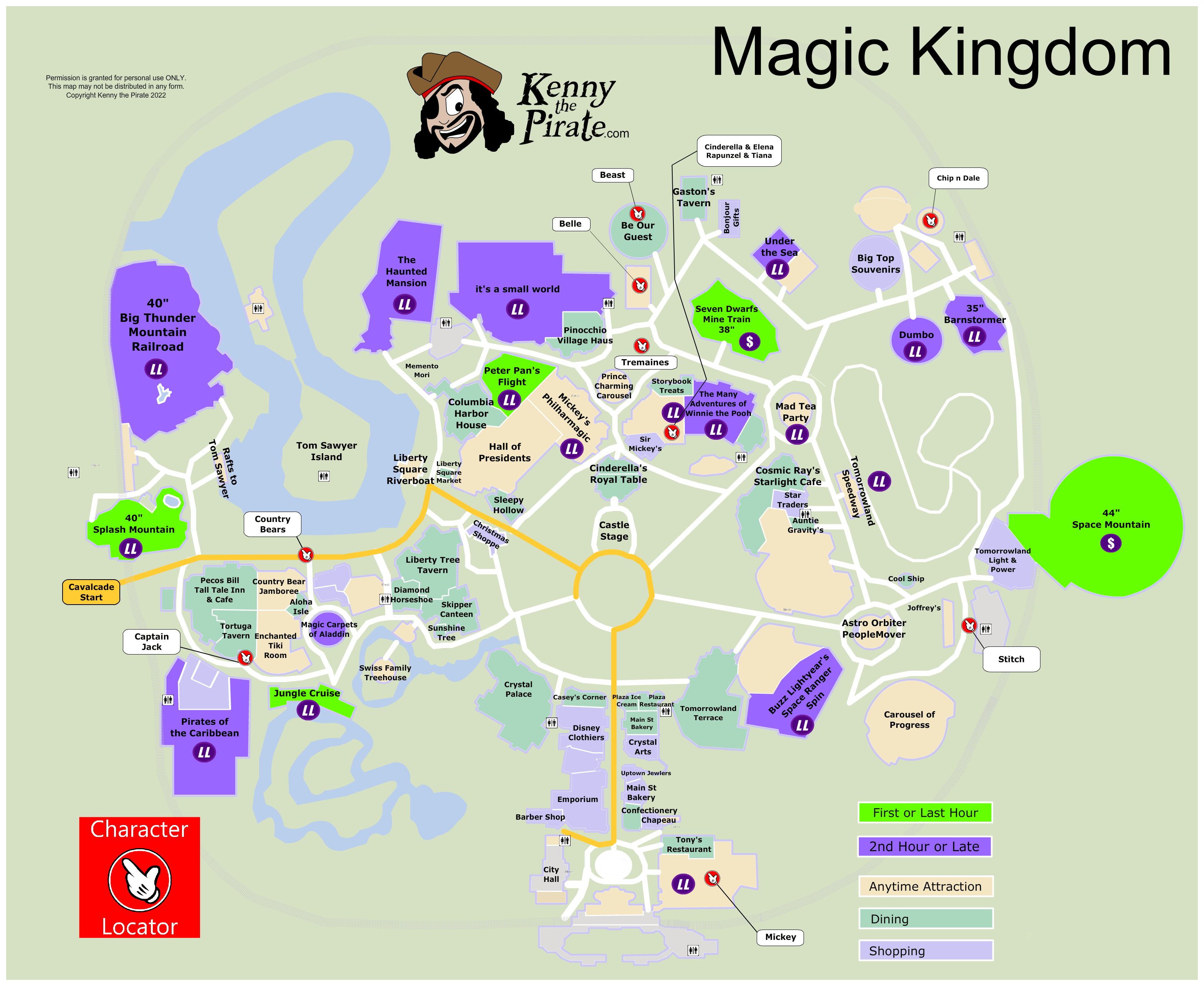 KennythePirate's Magic Kingdom Map including Fastpass Plus locations ...