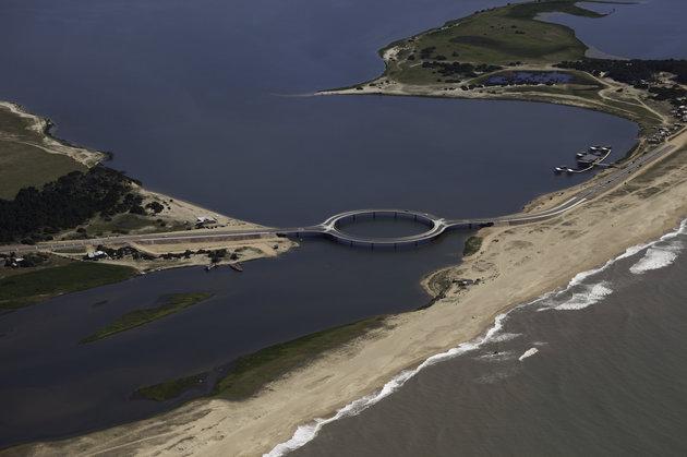 the ring shaped laguna garzon bridge in uruguay