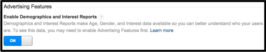 Enable Advertising Features - Google Analytics