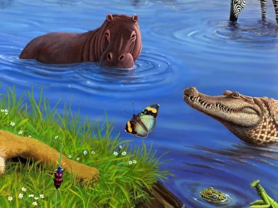 African Watering Hole, revised, detail 3