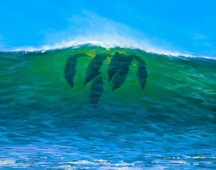 Dolphins in the Wave