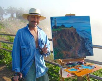 Painting at Point Fermin, CA, just before the fog rolled in.
