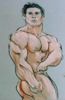 Body Builder, side bicep pose