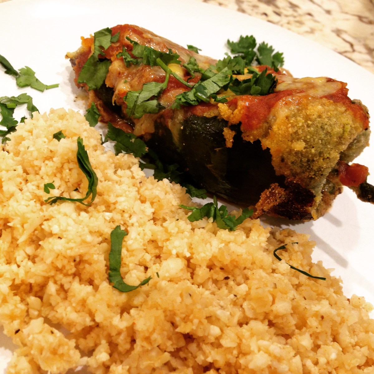 """Chile Rellenos And Mexican Cauliflower """"Rice"""""""