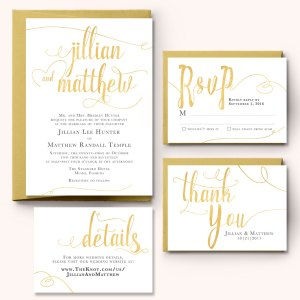 Gold Wedding Invitation Set from Charming Chestnuts
