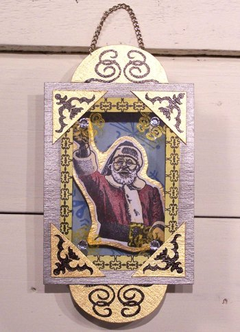 Shadow box ornament featuring a Santa rubber stamp