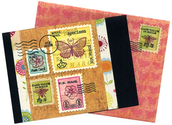 Card and envelope decorated with spring faux postage