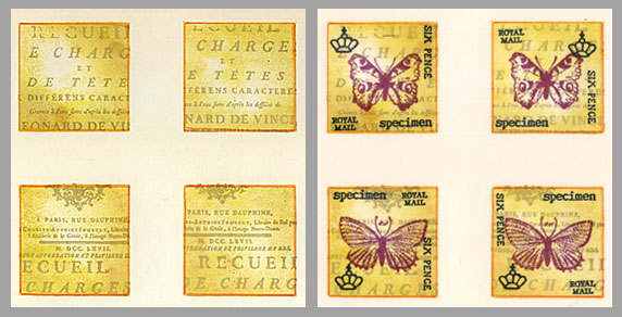 faux postage with butterflies