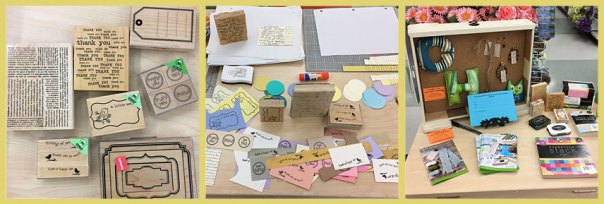 Rubber stamps, making parts for greeting cards, paper crafting products and upcoming classes.