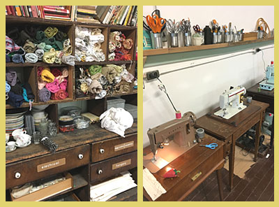 Some of the supply stash on the left and the sewing area on the right.