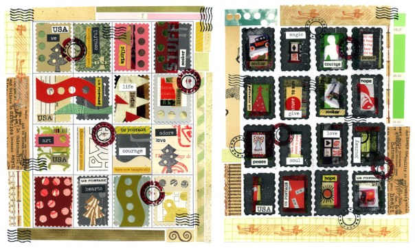 Two finished Christmas faux postage sheets.