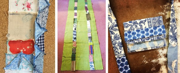 Experimental projects using fabric scraps.