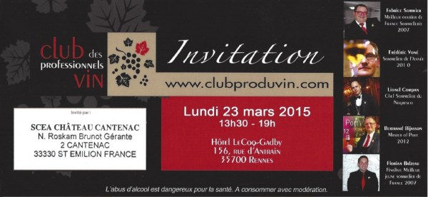 Invitation Club Pro Vin Rennes 23 Mars 2015